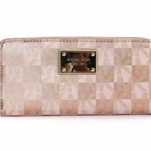 ISO Michael Kors Rose Gold Checkered Wallet